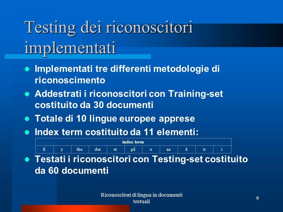 Riconoscitori di lingua in documenti testuali 9 Testing dei riconoscitori implementati Implementati tre differenti metodologie di riconoscimento Addes