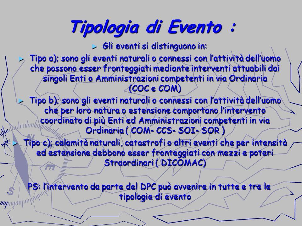 Tipologia di Evento : Gli eventi si distinguono in: Gli eventi si distinguono in: Tipo a); sono gli eventi naturali o connessi con lattività delluomo