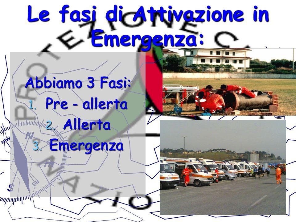 Le fasi di Attivazione in Emergenza: Abbiamo 3 Fasi: 1. Pre - allerta 2. Allerta 3. Emergenza