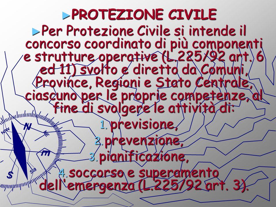 PROTEZIONE CIVILE PROTEZIONE CIVILE Per Protezione Civile si intende il concorso coordinato di più componenti e strutture operative (L.225/92 art. 6 e