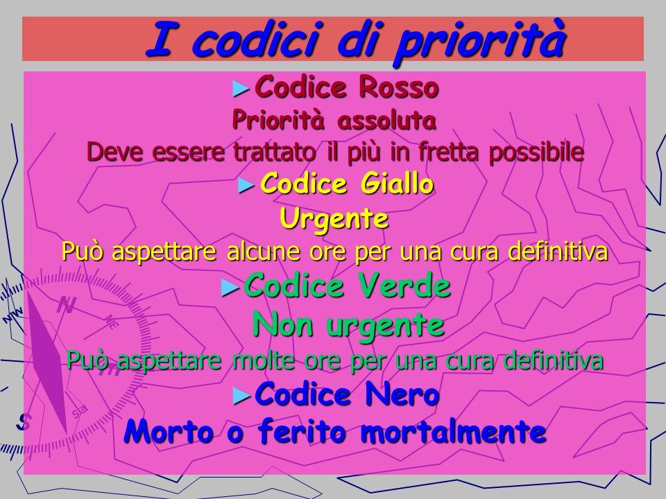 I codici di priorità I codici di priorità Codice Rosso Codice Rosso Priorità assoluta Deve essere trattato il più in fretta possibile Codice Giallo Co