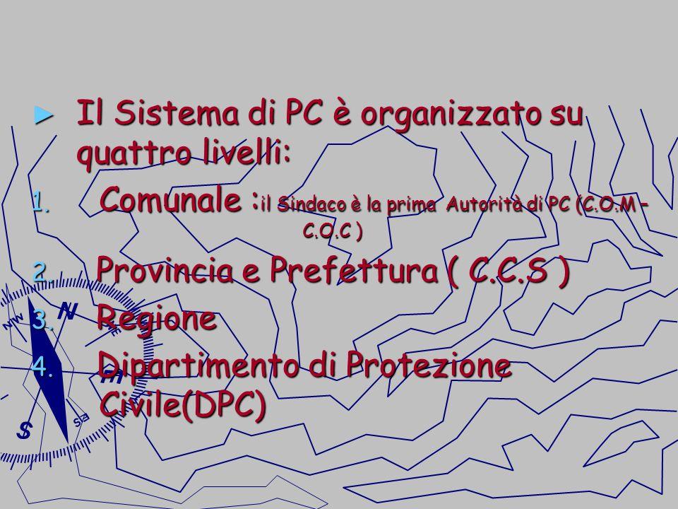 Il Sistema di PC è organizzato su quattro livelli: Il Sistema di PC è organizzato su quattro livelli: 1. Comunale : il Sindaco è la prima Autorità di