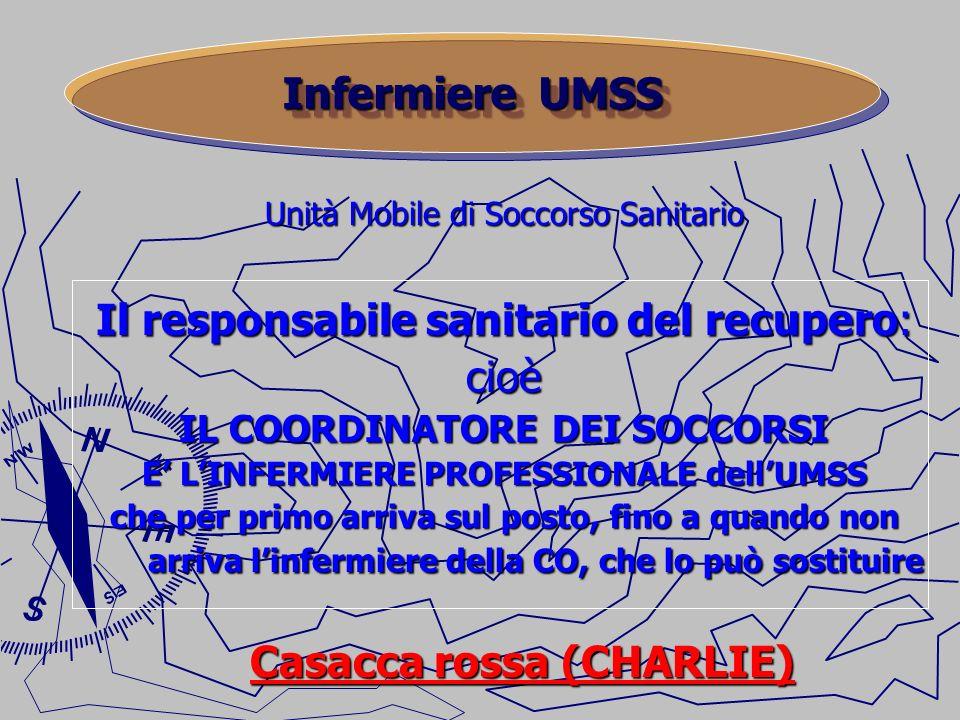 Unità Mobile di Soccorso Sanitario Il responsabile sanitario del recupero: cioè IL COORDINATORE DEI SOCCORSI E LINFERMIERE PROFESSIONALE dellUMSS che