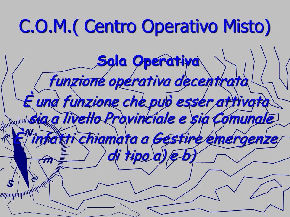 C.O.M.( Centro Operativo Misto) Sala Operativa Sala Operativa funzione operativa decentrata funzione operativa decentrata È una funzione che può esser