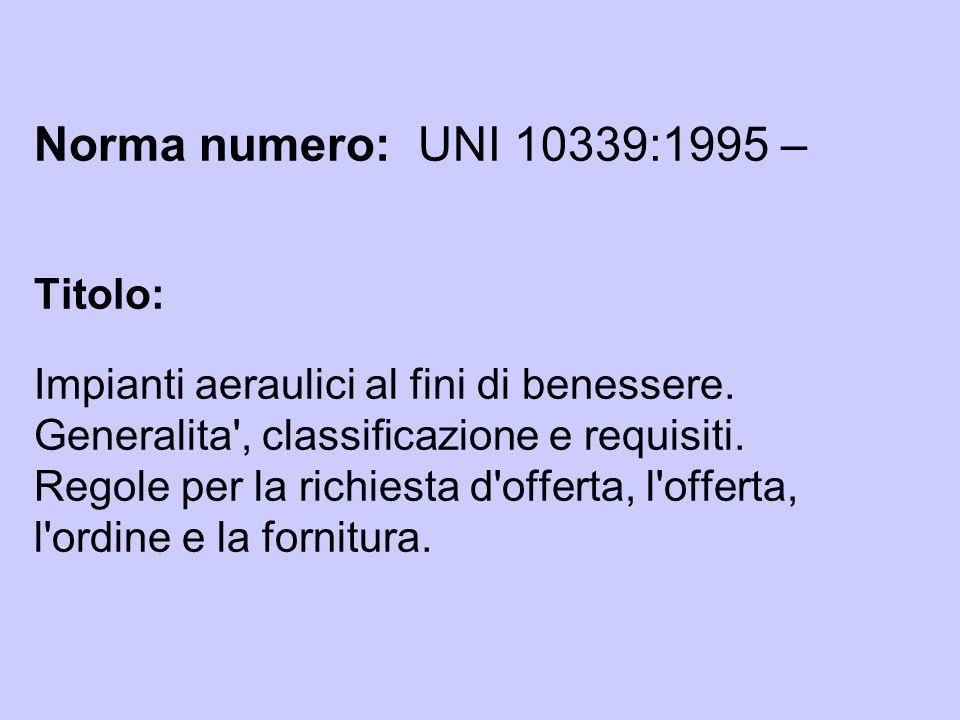 Norma numero: UNI 10339:1995 – Titolo: Impianti aeraulici al fini di benessere. Generalita', classificazione e requisiti. Regole per la richiesta d'of