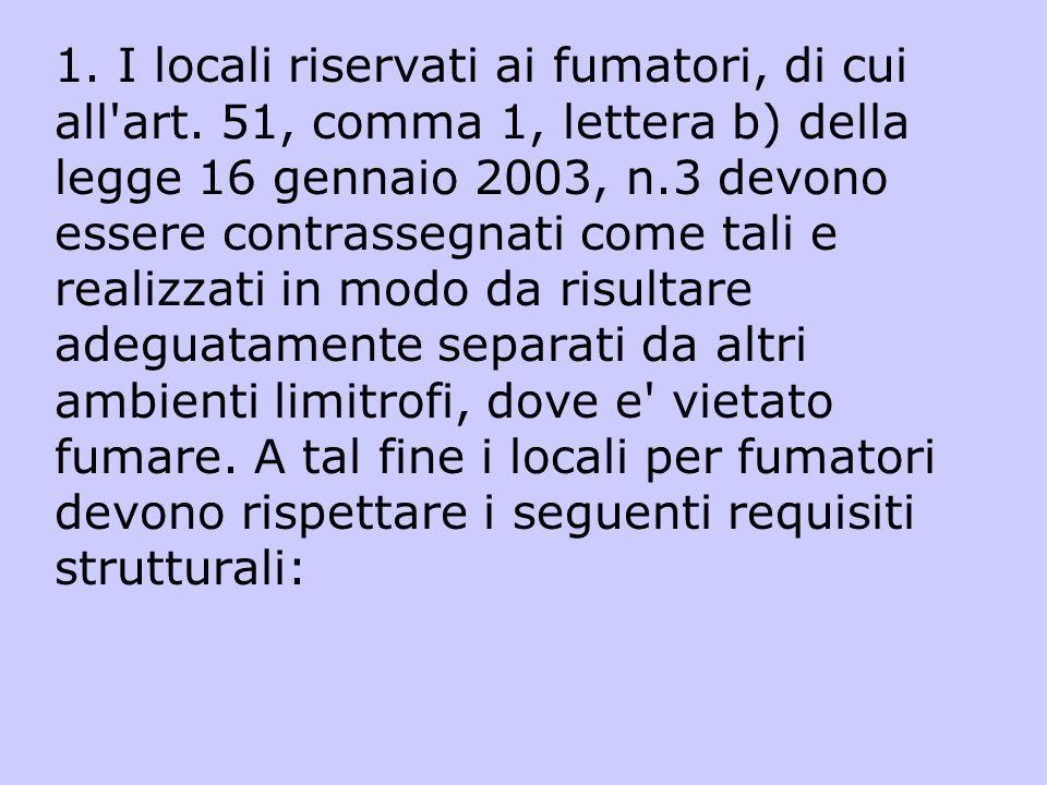 1. I locali riservati ai fumatori, di cui all'art. 51, comma 1, lettera b) della legge 16 gennaio 2003, n.3 devono essere contrassegnati come tali e r