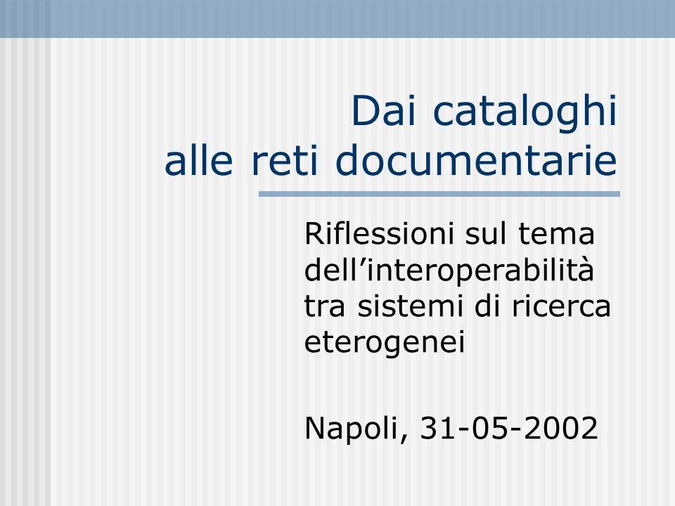 Dai cataloghi alle reti documentarie Riflessioni sul tema dellinteroperabilità tra sistemi di ricerca eterogenei Napoli, 31-05-2002