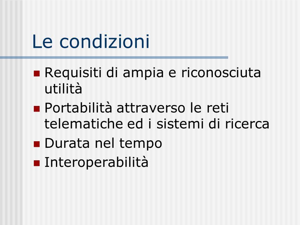 Le condizioni Requisiti di ampia e riconosciuta utilità Portabilità attraverso le reti telematiche ed i sistemi di ricerca Durata nel tempo Interoperabilità