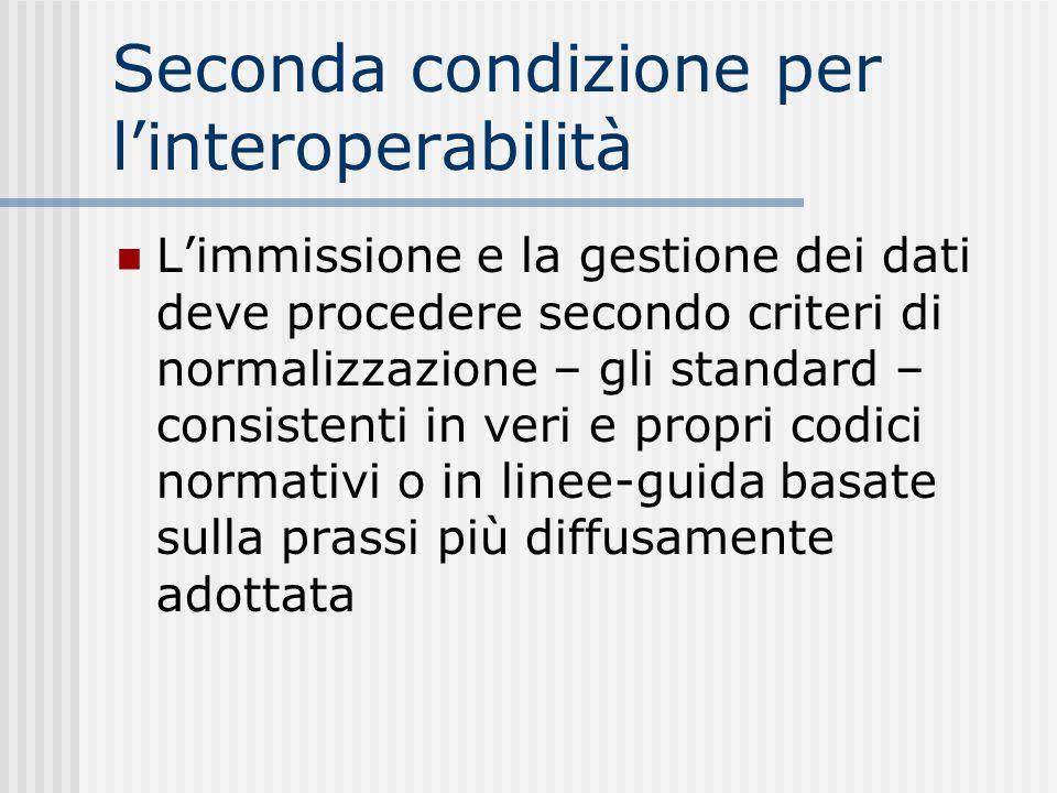 Seconda condizione per linteroperabilità Limmissione e la gestione dei dati deve procedere secondo criteri di normalizzazione – gli standard – consist