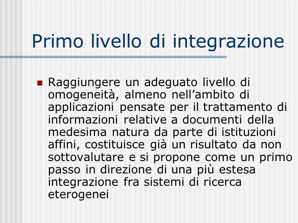 Primo livello di integrazione Raggiungere un adeguato livello di omogeneità, almeno nellambito di applicazioni pensate per il trattamento di informazi