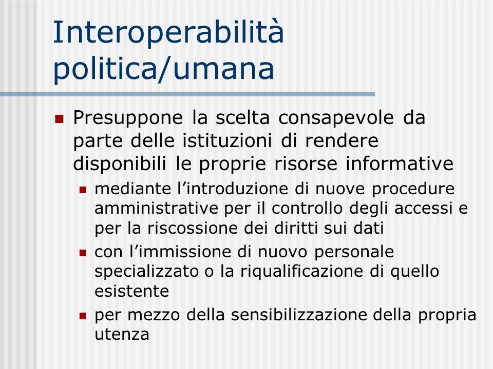 Interoperabilità politica/umana Presuppone la scelta consapevole da parte delle istituzioni di rendere disponibili le proprie risorse informative medi
