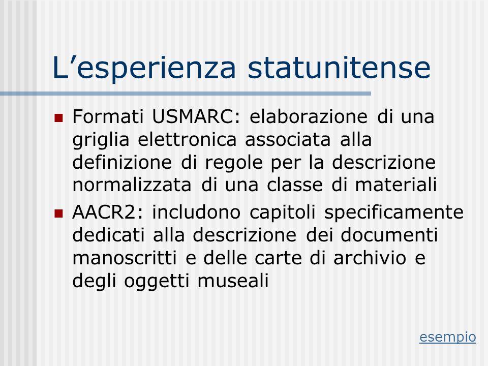 Lesperienza statunitense Formati USMARC: elaborazione di una griglia elettronica associata alla definizione di regole per la descrizione normalizzata di una classe di materiali AACR2: includono capitoli specificamente dedicati alla descrizione dei documenti manoscritti e delle carte di archivio e degli oggetti museali esempio
