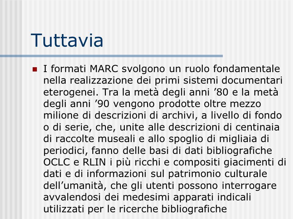 Tuttavia I formati MARC svolgono un ruolo fondamentale nella realizzazione dei primi sistemi documentari eterogenei.