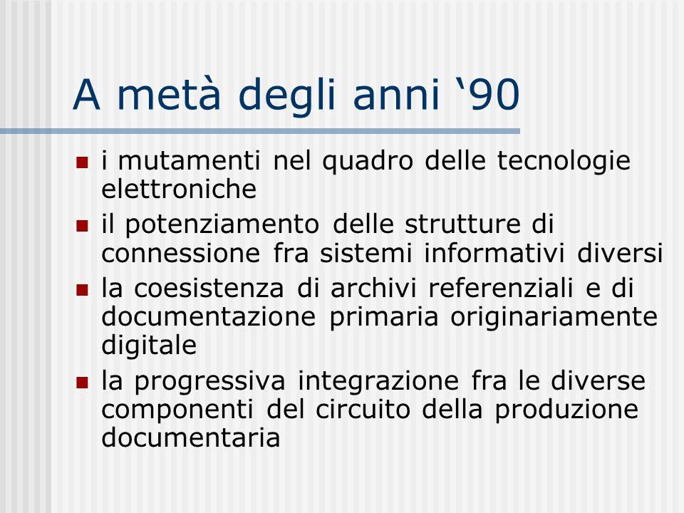 A metà degli anni 90 i mutamenti nel quadro delle tecnologie elettroniche il potenziamento delle strutture di connessione fra sistemi informativi diversi la coesistenza di archivi referenziali e di documentazione primaria originariamente digitale la progressiva integrazione fra le diverse componenti del circuito della produzione documentaria