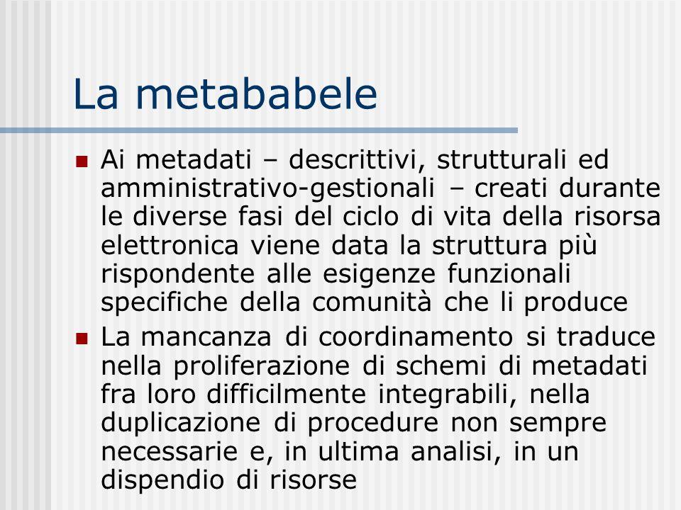La metababele Ai metadati – descrittivi, strutturali ed amministrativo-gestionali – creati durante le diverse fasi del ciclo di vita della risorsa ele