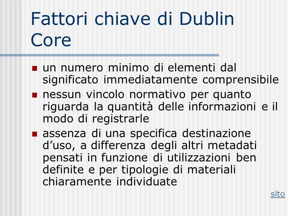 Fattori chiave di Dublin Core un numero minimo di elementi dal significato immediatamente comprensibile nessun vincolo normativo per quanto riguarda l