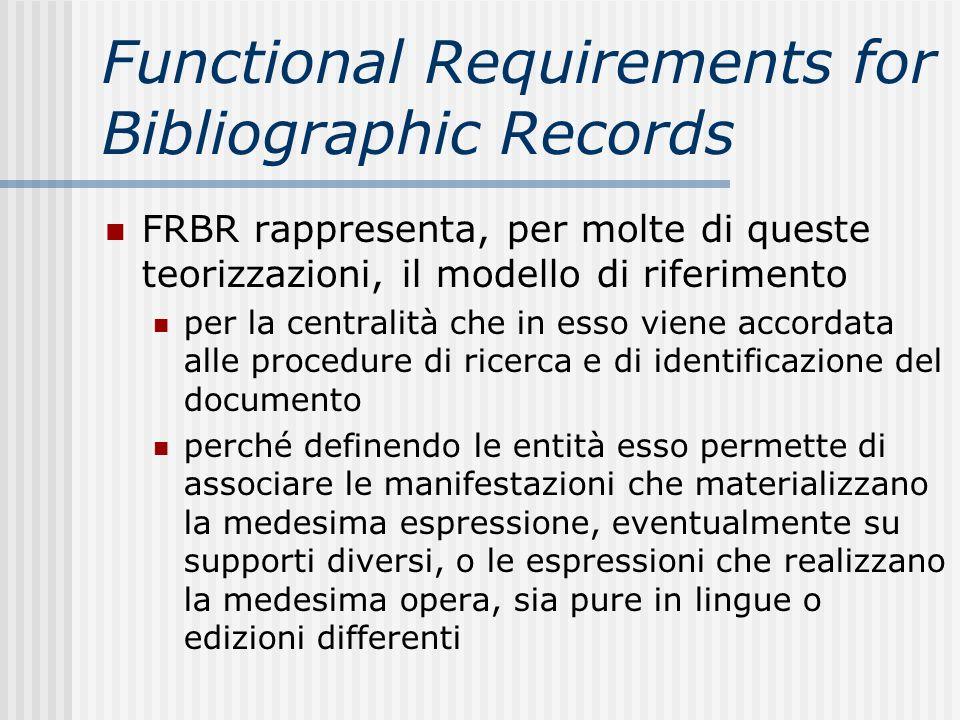Functional Requirements for Bibliographic Records FRBR rappresenta, per molte di queste teorizzazioni, il modello di riferimento per la centralità che