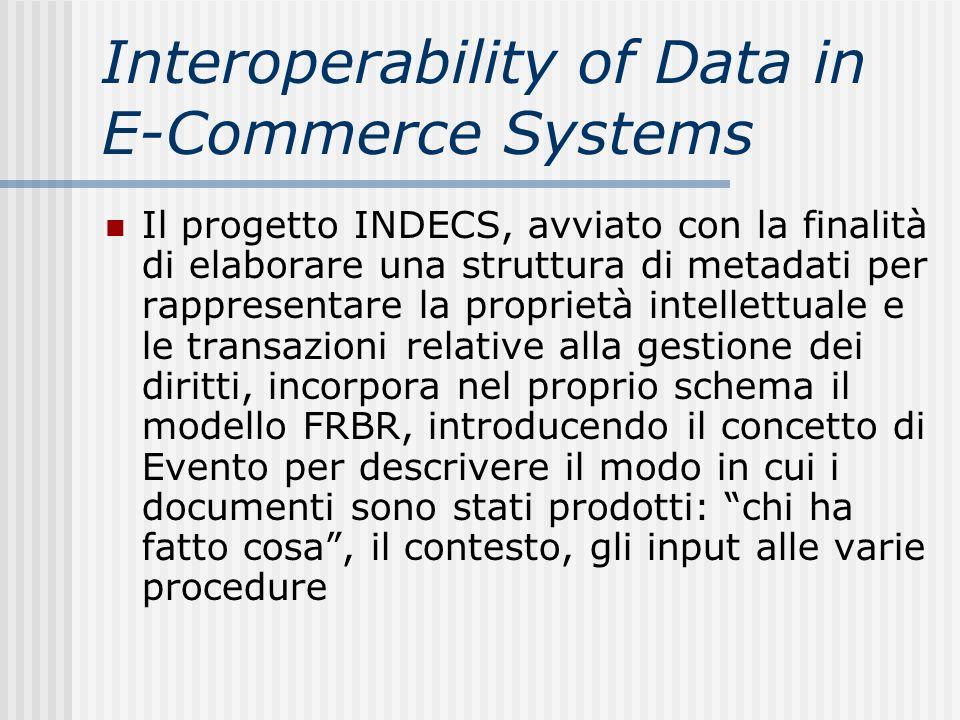 Interoperability of Data in E-Commerce Systems Il progetto INDECS, avviato con la finalità di elaborare una struttura di metadati per rappresentare la
