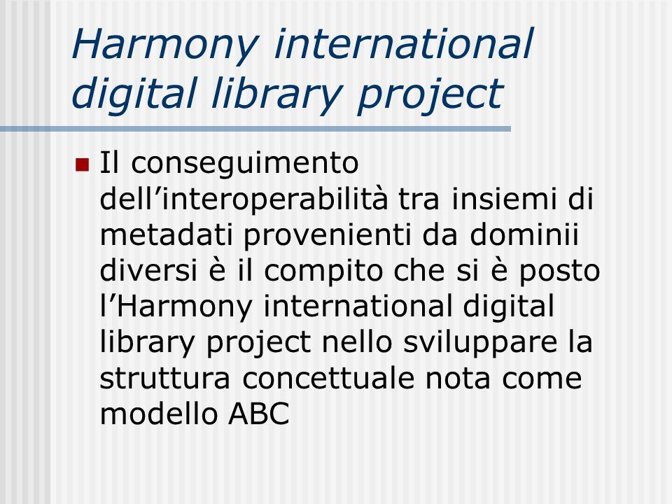 Harmony international digital library project Il conseguimento dellinteroperabilità tra insiemi di metadati provenienti da dominii diversi è il compit
