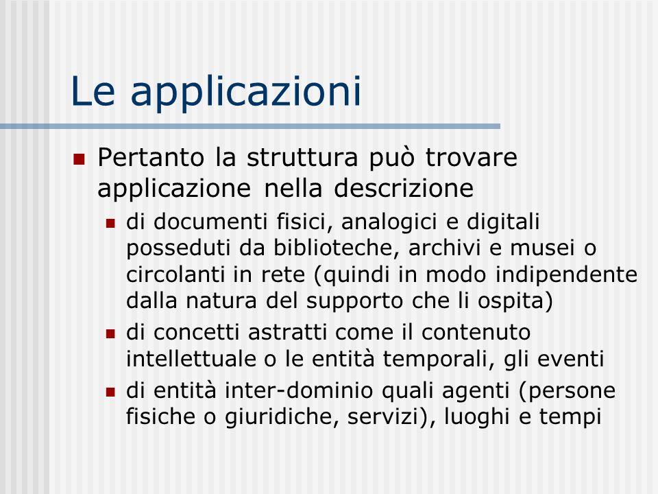 Le applicazioni Pertanto la struttura può trovare applicazione nella descrizione di documenti fisici, analogici e digitali posseduti da biblioteche, a