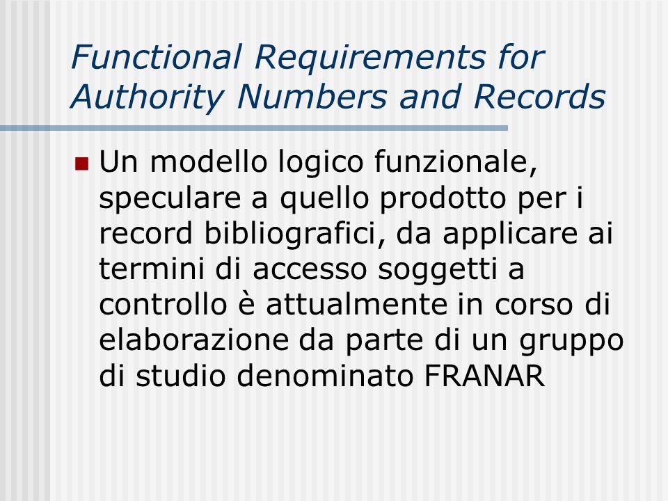 Functional Requirements for Authority Numbers and Records Un modello logico funzionale, speculare a quello prodotto per i record bibliografici, da applicare ai termini di accesso soggetti a controllo è attualmente in corso di elaborazione da parte di un gruppo di studio denominato FRANAR