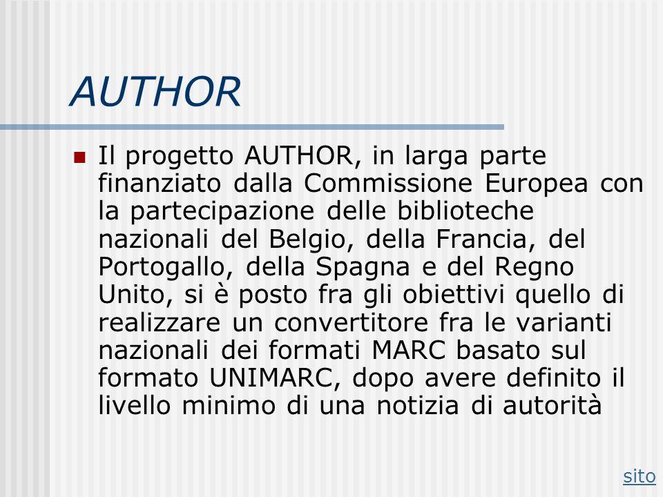 AUTHOR Il progetto AUTHOR, in larga parte finanziato dalla Commissione Europea con la partecipazione delle biblioteche nazionali del Belgio, della Fra