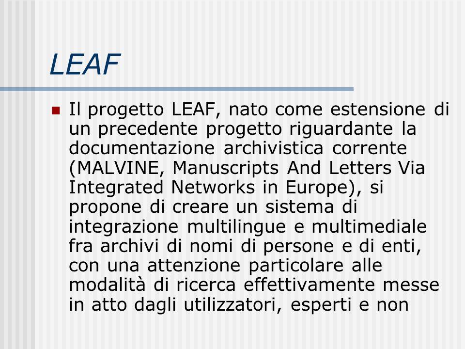 LEAF Il progetto LEAF, nato come estensione di un precedente progetto riguardante la documentazione archivistica corrente (MALVINE, Manuscripts And Le