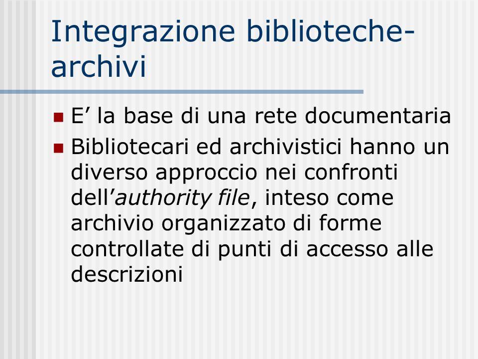 Integrazione biblioteche- archivi E la base di una rete documentaria Bibliotecari ed archivistici hanno un diverso approccio nei confronti dellauthority file, inteso come archivio organizzato di forme controllate di punti di accesso alle descrizioni