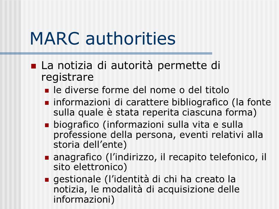 MARC authorities La notizia di autorità permette di registrare le diverse forme del nome o del titolo informazioni di carattere bibliografico (la font
