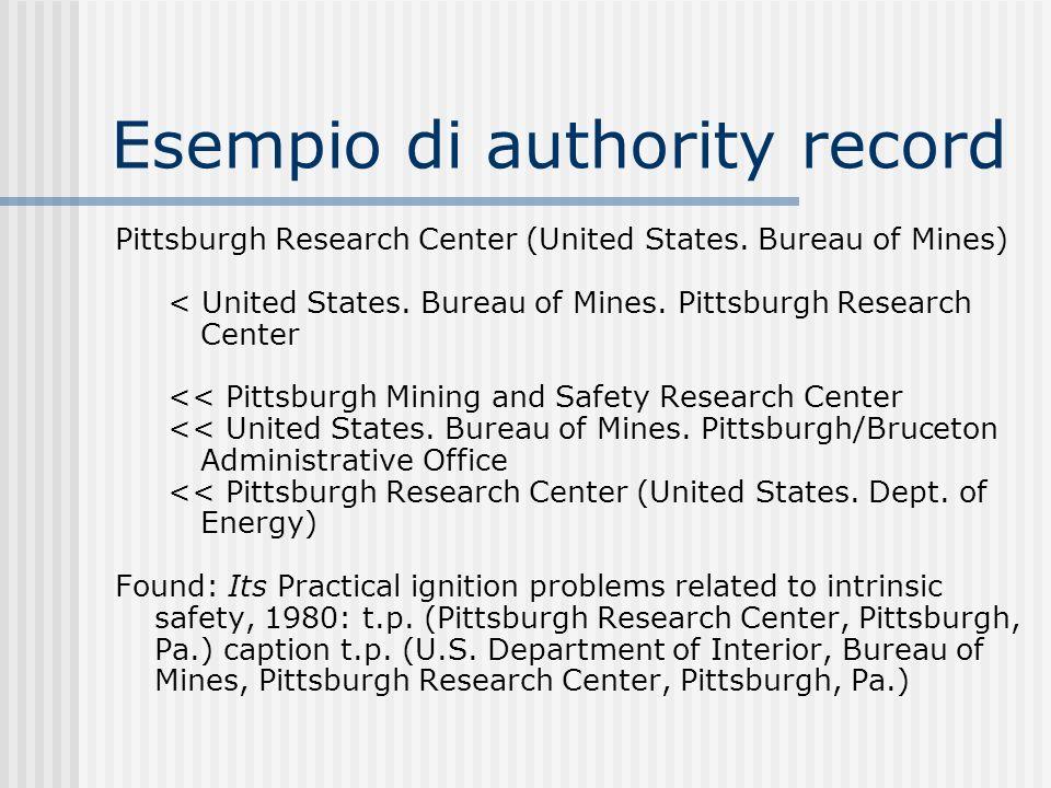 Esempio di authority record Pittsburgh Research Center (United States. Bureau of Mines) < United States. Bureau of Mines. Pittsburgh Research Center <