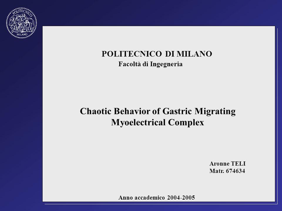 Chaotic Behavior of Gastric Migrating Myoelectrical Complex POLITECNICO DI MILANO Facoltà di Ingegneria Aronne TELI Matr. 674634 Anno accademico 2004-