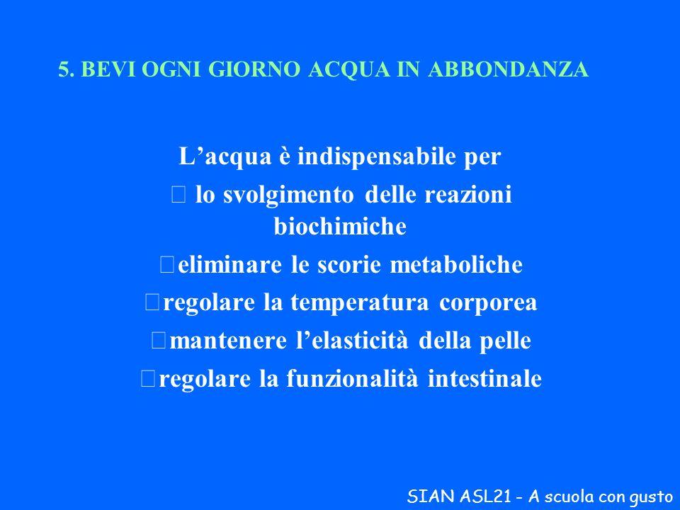 5. BEVI OGNI GIORNO ACQUA IN ABBONDANZA Lacqua è indispensabile per lo svolgimento delle reazioni biochimiche eliminare le scorie metaboliche regola