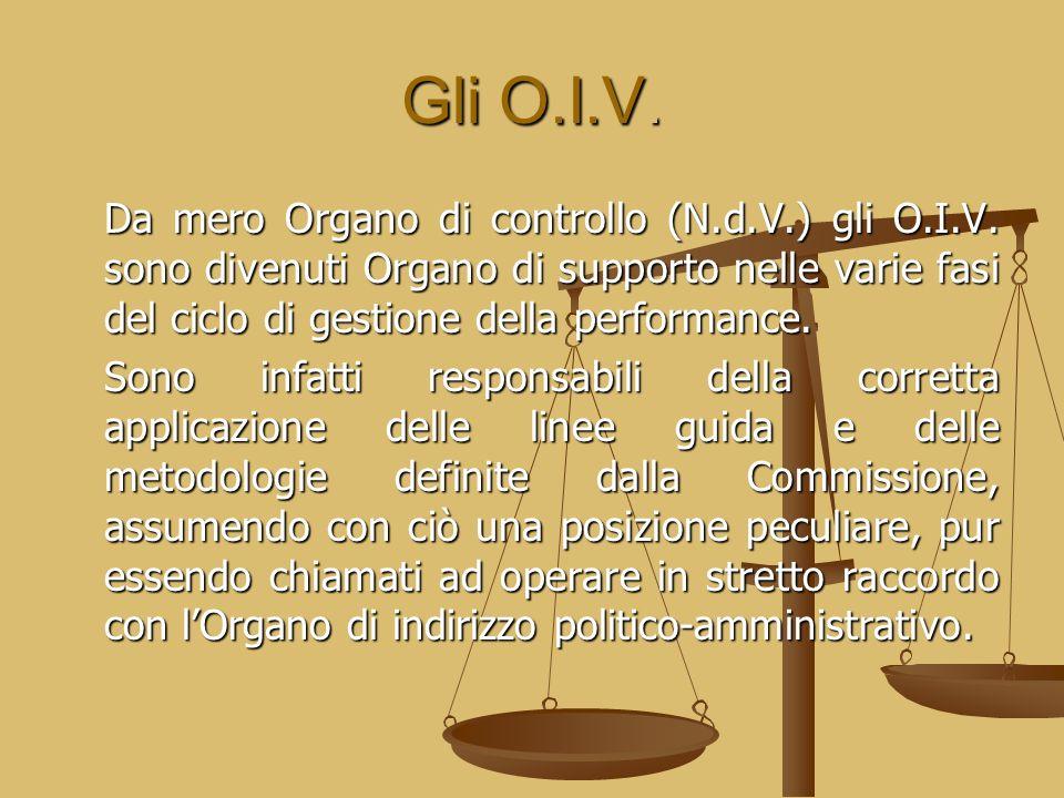 Gli O.I.V. Da mero Organo di controllo (N.d.V.) gli O.I.V. sono divenuti Organo di supporto nelle varie fasi del ciclo di gestione della performance.