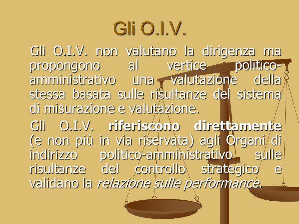 Gli O.I.V. Gli O.I.V. non valutano la dirigenza ma propongono al vertice politico- amministrativo una valutazione della stessa basata sulle risultanze