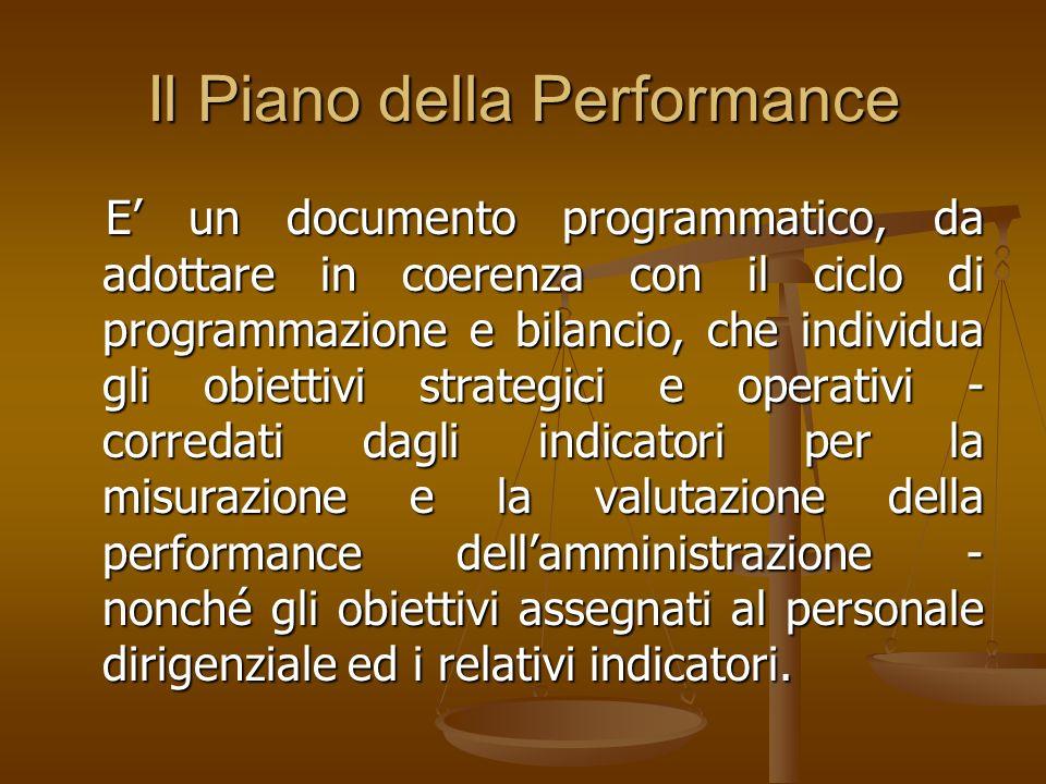 Il Piano della Performance E un documento programmatico, da adottare in coerenza con il ciclo di programmazione e bilancio, che individua gli obiettiv