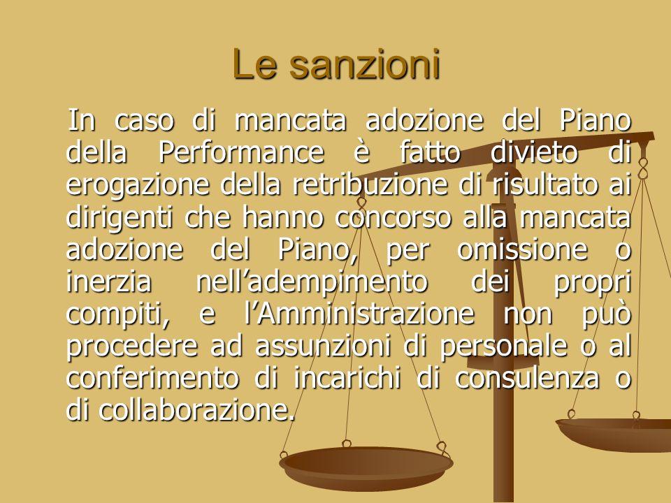 Le sanzioni In caso di mancata adozione del Piano della Performance è fatto divieto di erogazione della retribuzione di risultato ai dirigenti che han