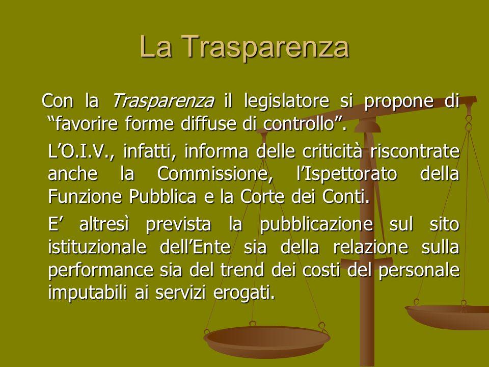 La Trasparenza Con la Trasparenza il legislatore si propone di favorire forme diffuse di controllo. Con la Trasparenza il legislatore si propone di fa