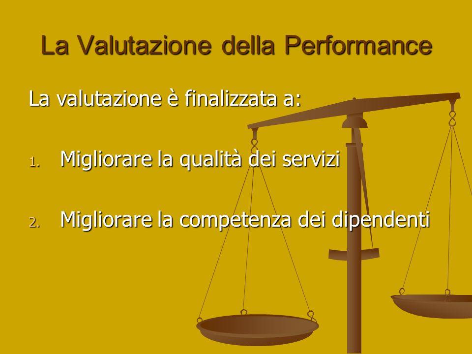 La Valutazione della Performance La valutazione è finalizzata a: 1. Migliorare la qualità dei servizi 2. Migliorare la competenza dei dipendenti