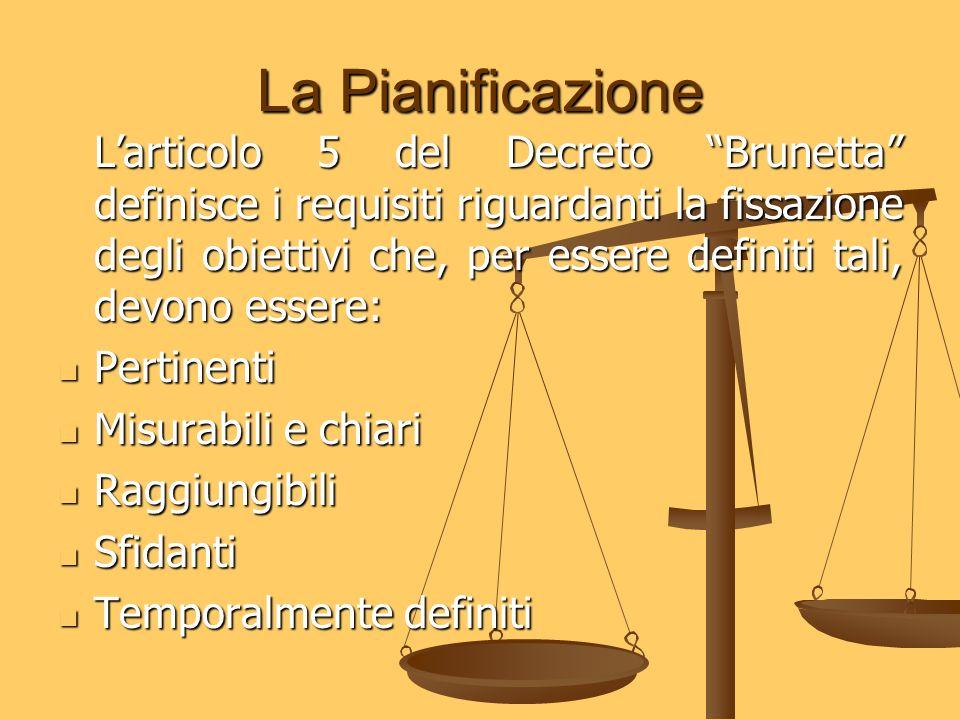 La Pianificazione Larticolo 5 del Decreto Brunetta definisce i requisiti riguardanti la fissazione degli obiettivi che, per essere definiti tali, devo