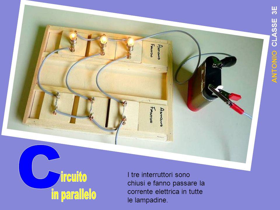 A N T O N I O C L A S S E 3 E I tre interruttori sono chiusi e fanno passare la corrente elettrica in tutte le lampadine.