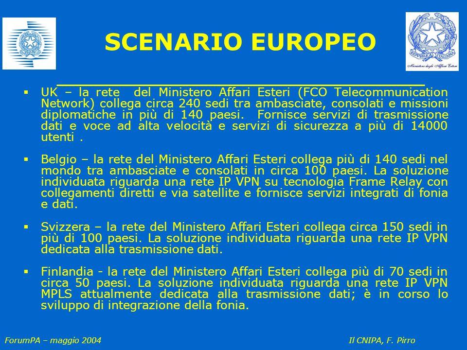 ForumPA – maggio 2004 Il CNIPA, F. Pirro SCENARIO EUROPEO UK – la rete del Ministero Affari Esteri (FCO Telecommunication Network) collega circa 240 s