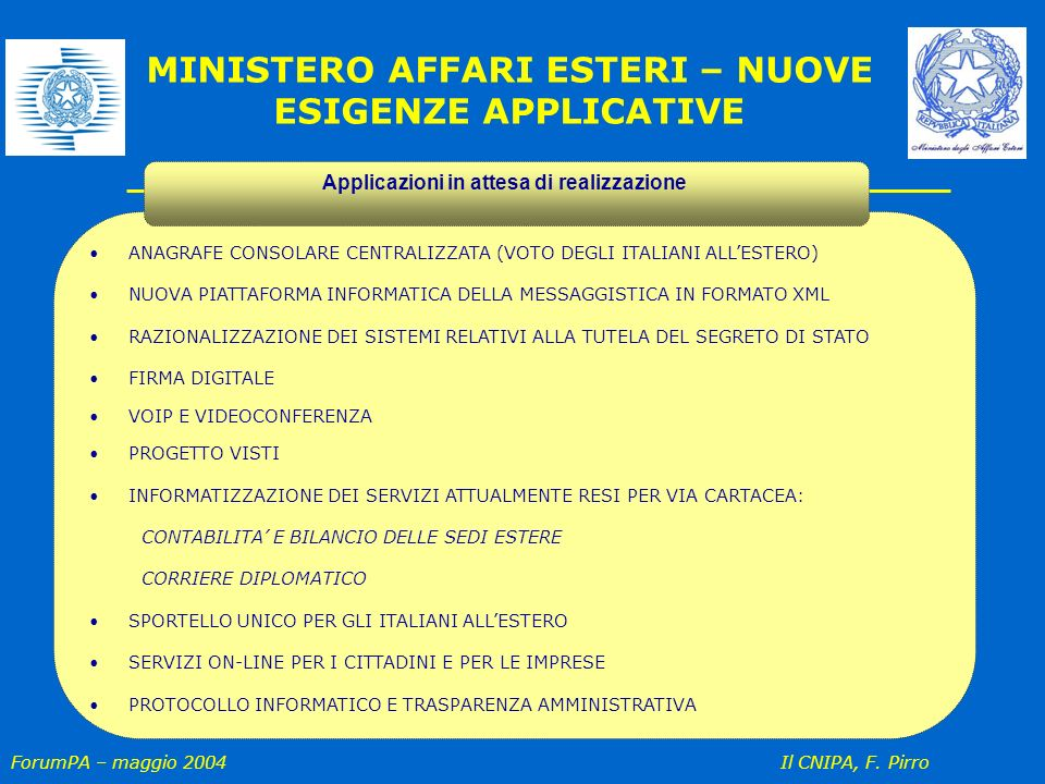 ForumPA – maggio 2004 Il CNIPA, F. Pirro ANAGRAFE CONSOLARE CENTRALIZZATA (VOTO DEGLI ITALIANI ALLESTERO) NUOVA PIATTAFORMA INFORMATICA DELLA MESSAGGI