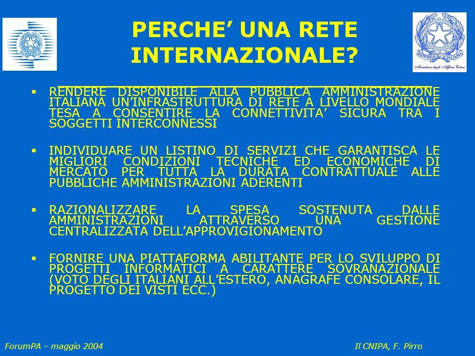 ForumPA – maggio 2004 Il CNIPA, F. Pirro PERCHE UNA RETE INTERNAZIONALE? RENDERE DISPONIBILE ALLA PUBBLICA AMMINISTRAZIONE ITALIANA UNINFRASTRUTTURA D