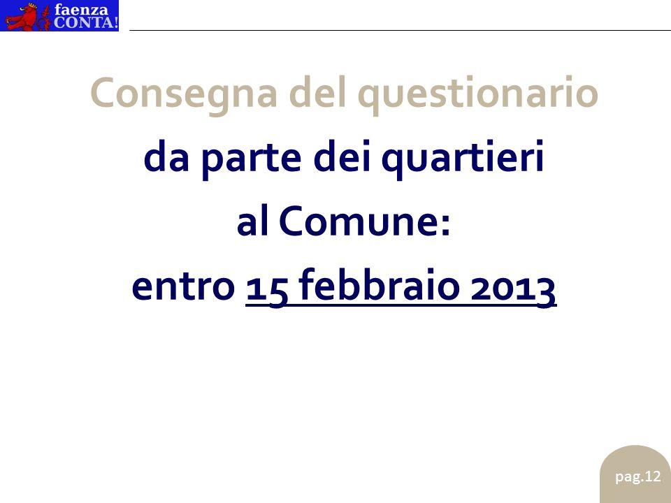 pag.12 Consegna del questionario da parte dei quartieri al Comune: entro 15 febbraio 2013