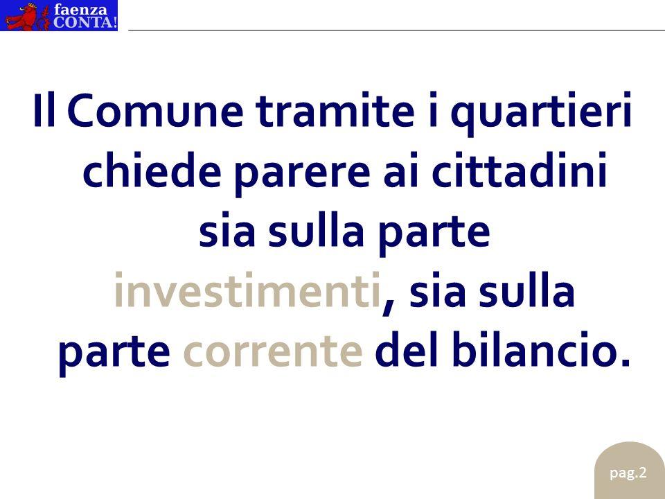 pag.2 Il Comune tramite i quartieri chiede parere ai cittadini sia sulla parte investimenti, sia sulla parte corrente del bilancio.