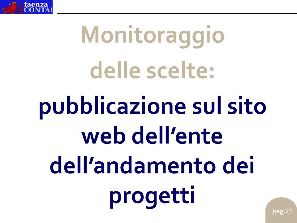 pag.21 Monitoraggio delle scelte: pubblicazione sul sito web dellente dellandamento dei progetti