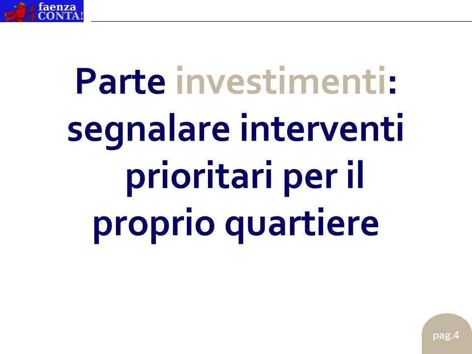 pag.5 Parte investimenti: _ 2 interventi piccoli, del valore complessivo massimo di 10 mila euro _ 1 intervento grande, del valore complessivo compreso tra 10 e 50 mila euro