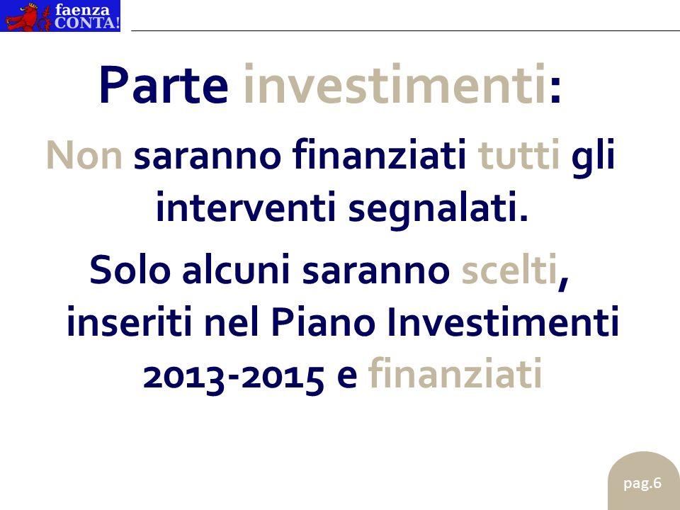 pag.6 Parte investimenti: Non saranno finanziati tutti gli interventi segnalati.