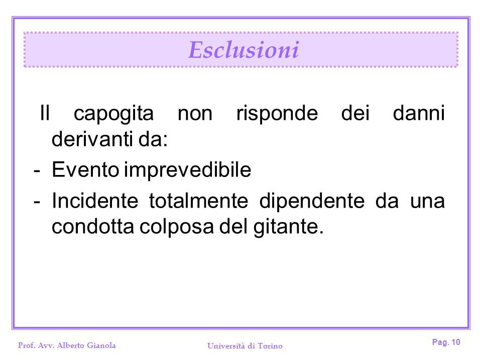 Prof. Avv. Alberto Gianola Università di Torino Pag. 10 Il capogita non risponde dei danni derivanti da: -Evento imprevedibile -Incidente totalmente d