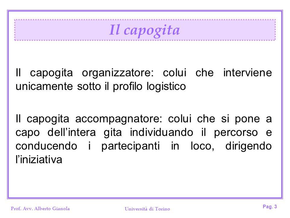 Prof. Avv. Alberto Gianola Università di Torino Pag. 3 Il capogita organizzatore: colui che interviene unicamente sotto il profilo logistico Il capogi